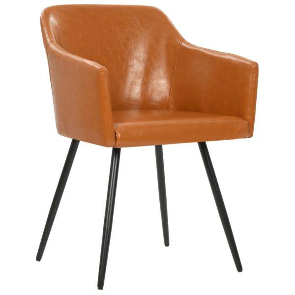 Esszimmerstühle 2 Stk. Braun Kunstleder