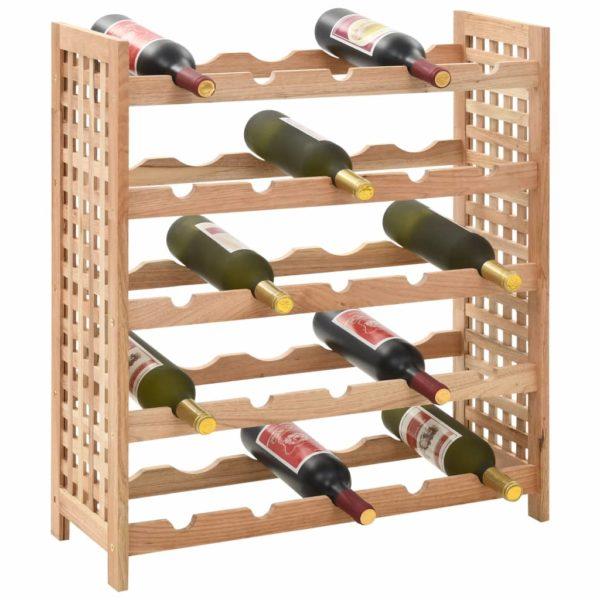 Weinregal für 25 Flaschen Nussbaumholz Massiv 63x25x73 cm