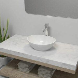 Bad-Waschbecken mit Mischbatterie Keramik Oval Weiß