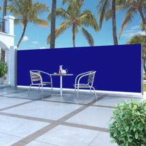 Ausziehbare Seitenmarkise 160 x 500 cm Blau