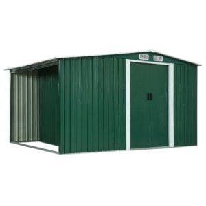 Gerätehaus mit Schiebetüren Grün 329,5×131×178 cm Stahl