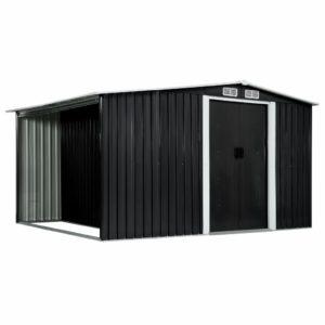 Gerätehaus mit Schiebetüren Anthrazit 329,5×205×178 cm Stahl