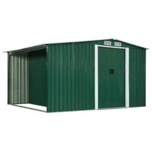 Gerätehaus mit Schiebetüren Grün 329,5×205×178 cm Stahl