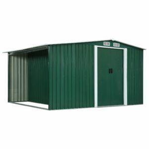 Gerätehaus mit Schiebetüren Grün 329,5×259×178 cm Stahl