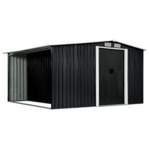 Gerätehaus mit Schiebetüren Anthrazit 329,5×312×178 cm Stahl