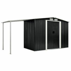 Gerätehaus mit Schiebetüren Anthrazit 386×131×178 cm Stahl