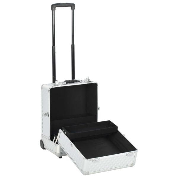 Kosmetik-Trolley 35×29×45 cm Silbern Aluminium