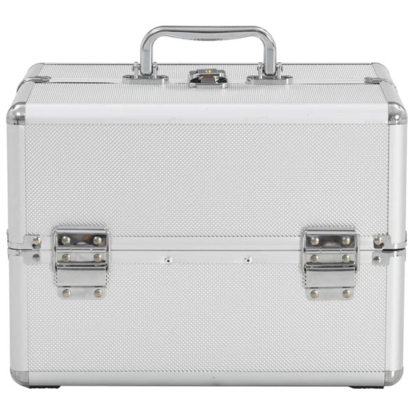 Kosmetikkoffer 22x30x21 cm Silbern Aluminium