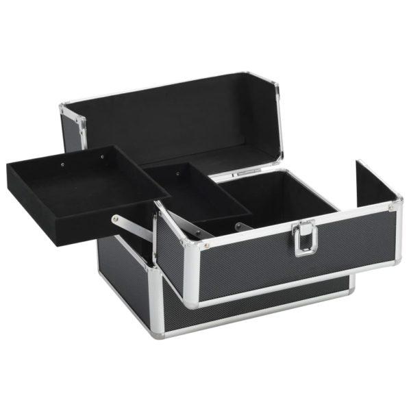 Kosmetikkoffer 22x30x21 cm Schwarz Aluminium