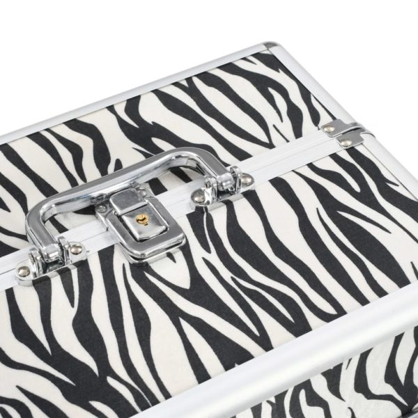 Kosmetikkoffer 22x30x21 cm Zebrastreifen Aluminium