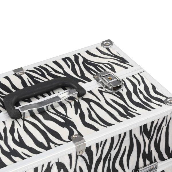 Kosmetikkoffer 37x24x35 cm Zebrastreifen Aluminium