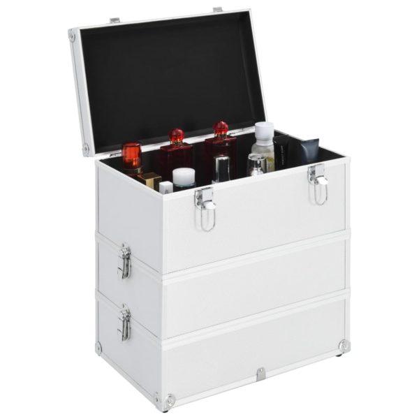 Kosmetikkoffer 37x24x40 cm Silbern Aluminium