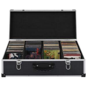 CD-Koffer für 80 CDs Aluminium ABS Schwarz