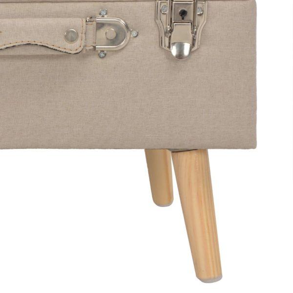 Hocker mit Stauraum 40 cm Beige Stoff