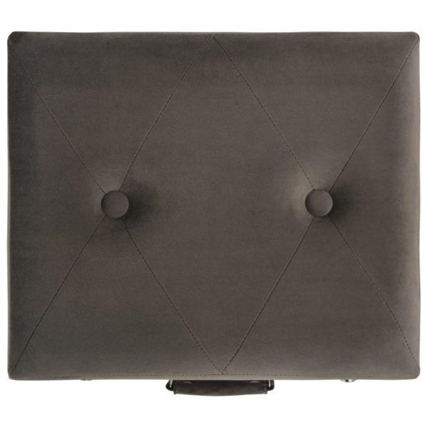 Hocker mit Stauraum 40 cm Grau Samt