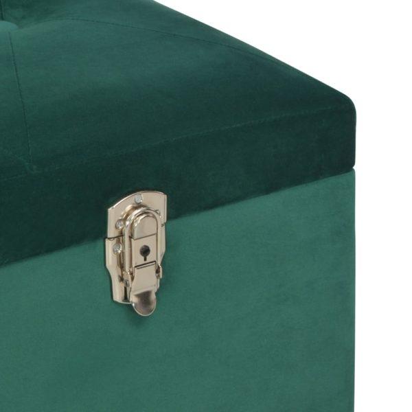 Bank mit Staufach 105 cm Grün Samt