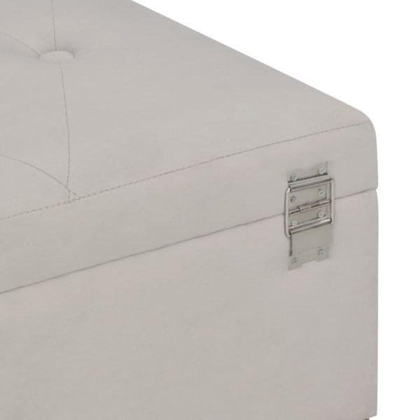 Bank mit Staufach 105 cm Grau Samt