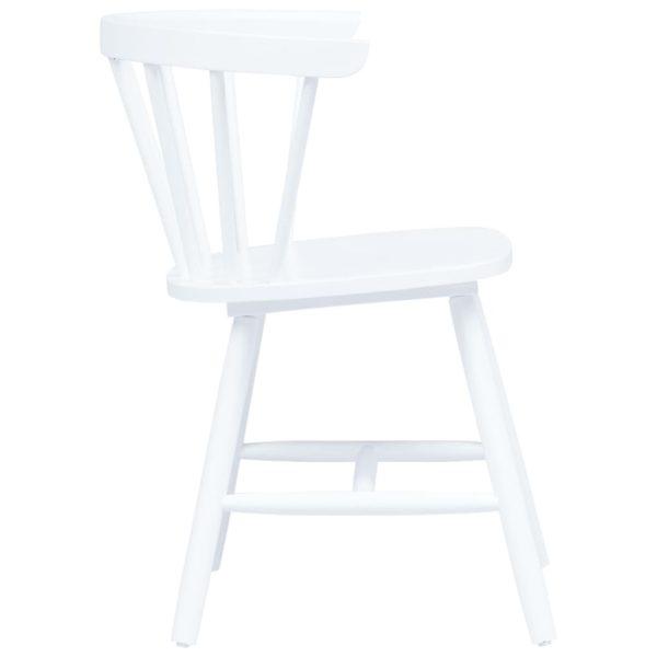 Esszimmerstühle 2 Stk. Weiß Gummiholz Massiv