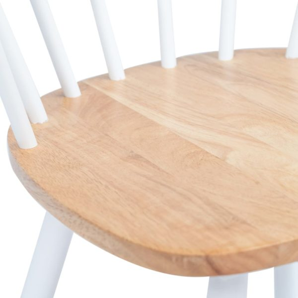 Esszimmerstühle 4 Stk. Weiß & Helles Holz Gummibaum Massivholz