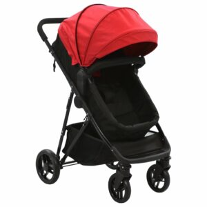 2-in-1 Buggy/Kinderwagen Rot und Schwarz Stahl