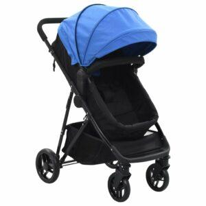 2-in-1 Buggy/Kinderwagen Blau und Schwarz Stahl