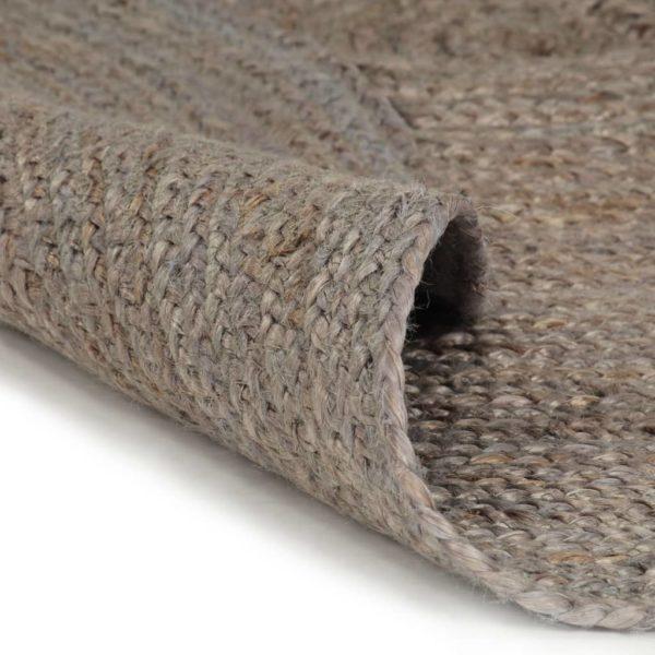 Teppich Handgefertigt Jute Rund 120 cm Grau