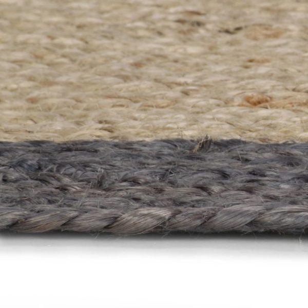 Teppich Handgefertigt Jute mit Dunkelgrauem Rand 90 cm