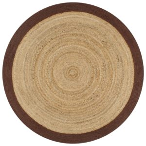 Teppich Handgefertigt Jute mit Braunem Rand 90 cm