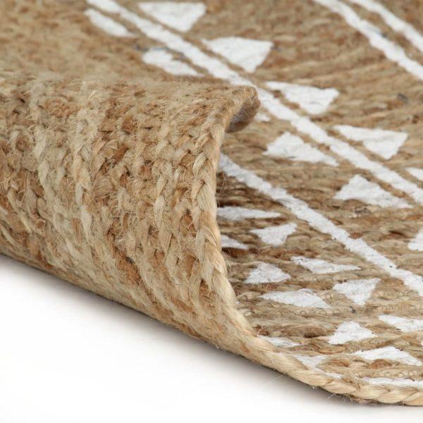 Teppich Handgefertigt Jute mit weißem Aufdruck 150 cm