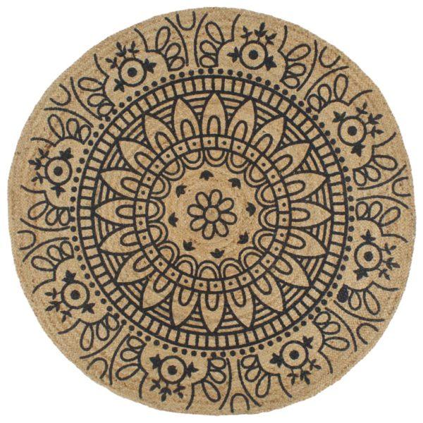 Teppich Handgefertigt Jute mit Dunkelblauem Aufdruck 150 cm