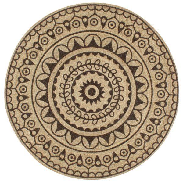Teppich Handgefertigt Jute mit Dunkelbraunem Aufdruck 120 cm