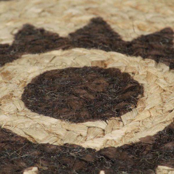 Teppich Handgefertigt Jute mit Dunkelbraunem Aufdruck 150 cm