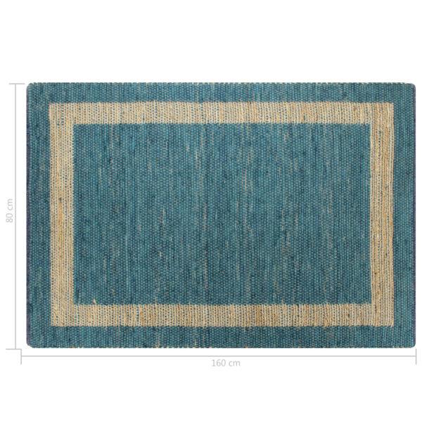 Teppich Handgefertigt Jute Blau 80×160 cm
