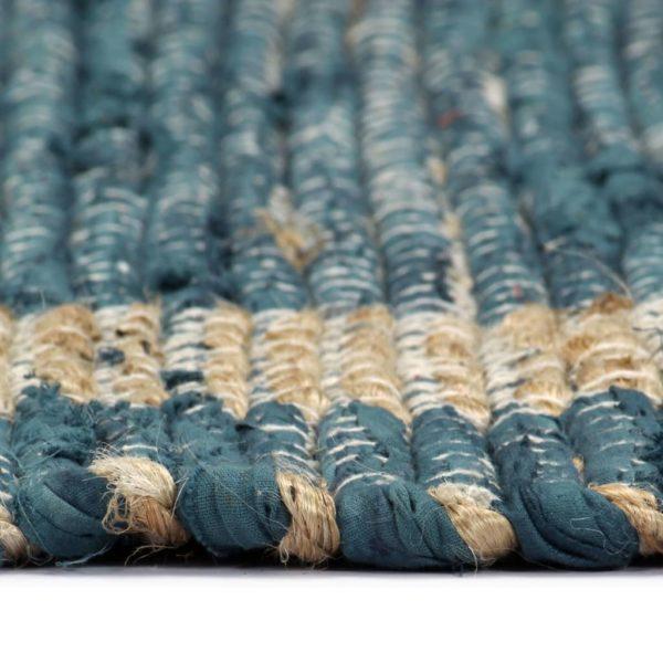 Teppich Handgefertigt Jute Blau 120×180 cm