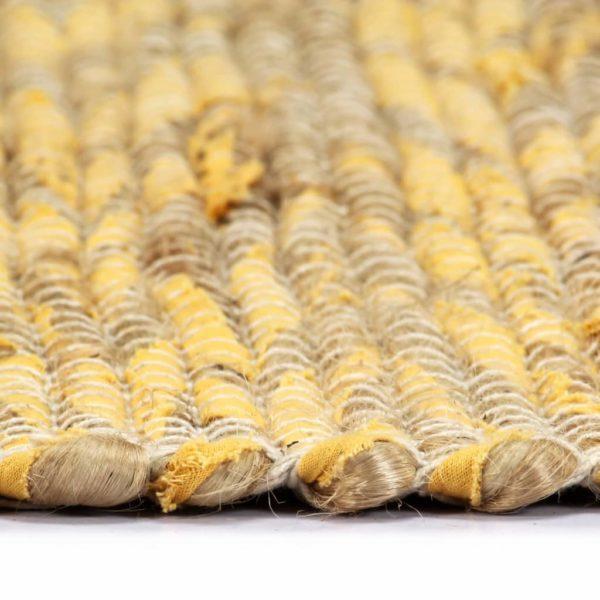 Teppich Handgefertigt Jute Gelb und Natur 80×160 cm