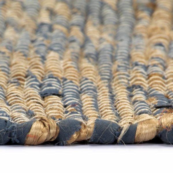 Teppich Handgefertigt Jute Blau und Natur 80×160 cm