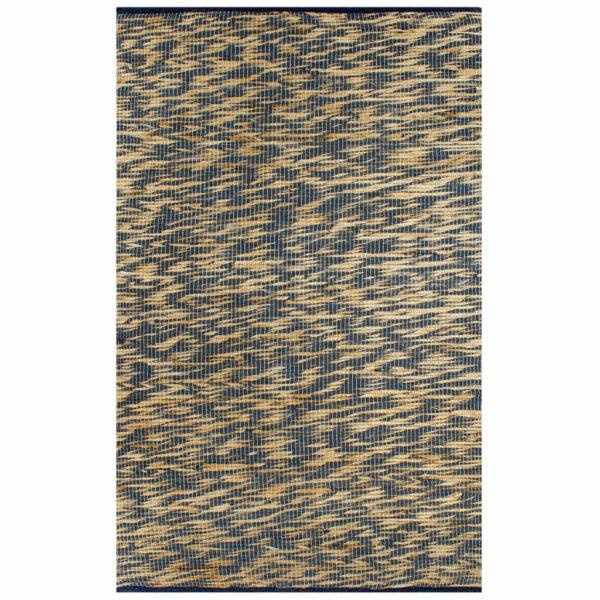 Teppich Handgefertigt Jute Blau und Natur 160×230 cm