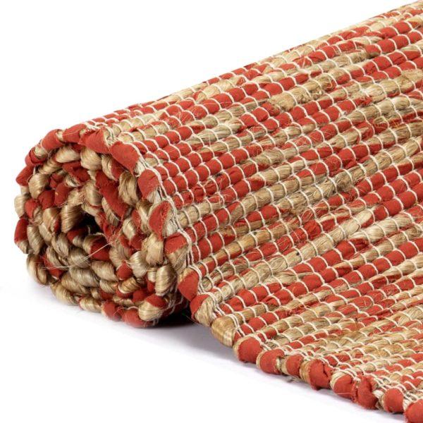 Teppich Handgefertigt Jute Rot und Natur 80×160 cm