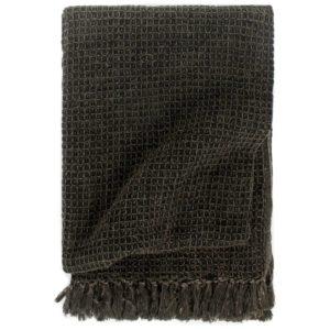 Überwurf Baumwolle 125×150 cm Anthrazit/Braun