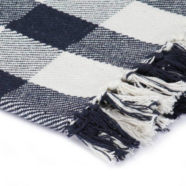 Überwurf Baumwolle Karo 220×250 cm Marineblau