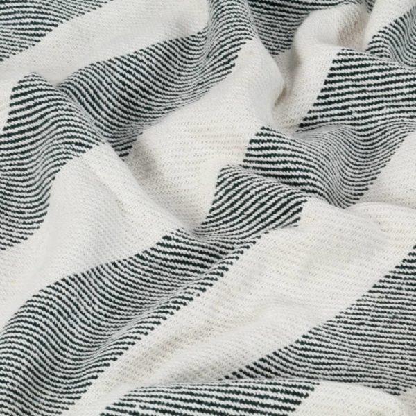 Überwurf Baumwolle Streifen 125×150 cm Dunkelgrün