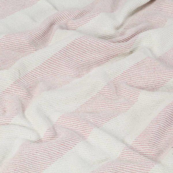 Überwurf Baumwolle Streifen 125×150 cm Altrosa
