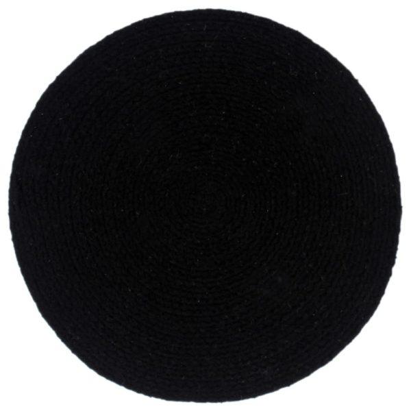 Tischsets 4 Stk. Uni Schwarz 38 cm Rund Baumwolle