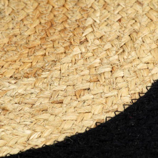 Tischsets 6 Stk. Natur und Schwarz 38 cm Jute und Baumwolle