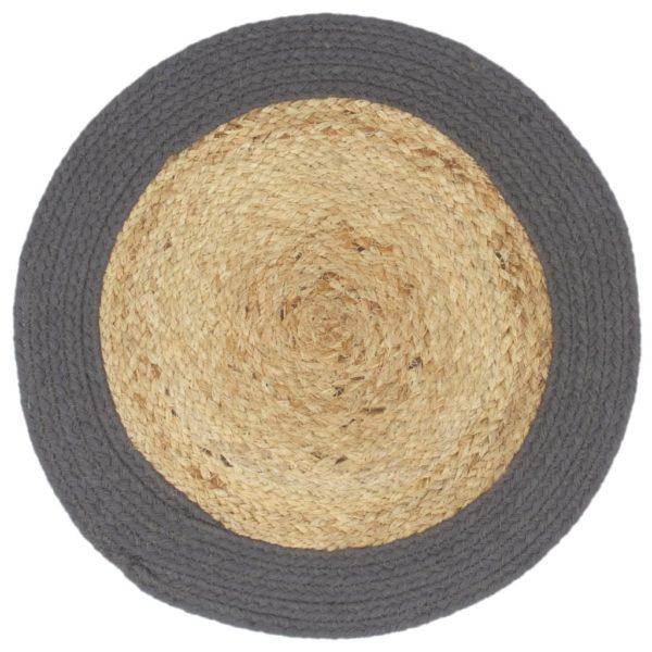 Tischsets 4 Stk. Natur und Anthrazit 38 cm Jute und Baumwolle