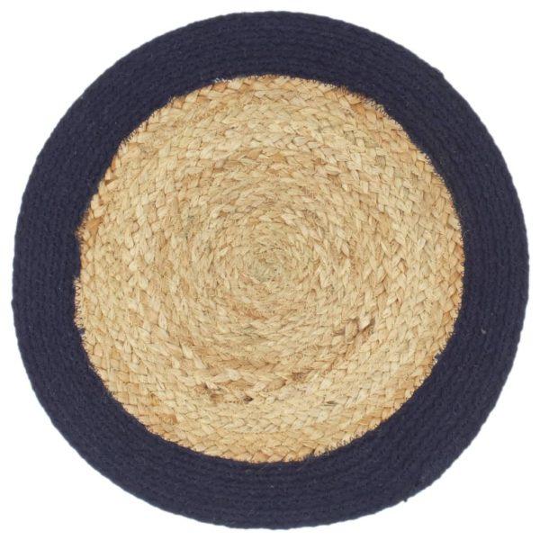 Tischsets 6 Stk. Natur und Marineblau 38 cm Jute und Baumwolle