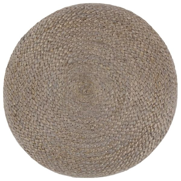Handgefertigter Sitzpuff Hellgrau 45 x 30 cm Jute