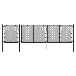 Gartentor Stahl 400 x 75 cm Schwarz