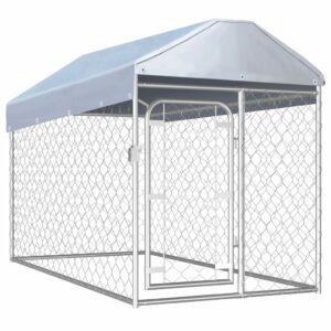 Outdoor-Hundezwinger mit Überdachung 200×100×125 cm