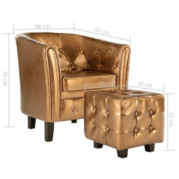 Sessel mit Fußhocker Braun Kunstleder